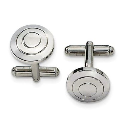 Picture of Stainless Steel Polished Round Circle Cufflinks