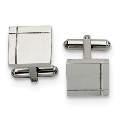 Picture of Stainless Steel Polished Square Line cut Cufflinks
