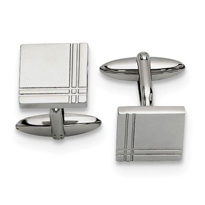 Picture of Stainless Steel Polished Cuff Dual Line Cut Cufflinks