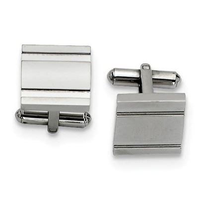 Picture of Stainless Steel Polished Track Cut Design Cufflinks