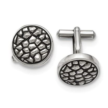 Picture of Stainless Steel Antiqued Textured Cufflinks