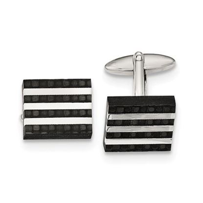 Picture of Stainless Steel Polished Brushed Solid Four Row Carbon Fiber Cufflinks