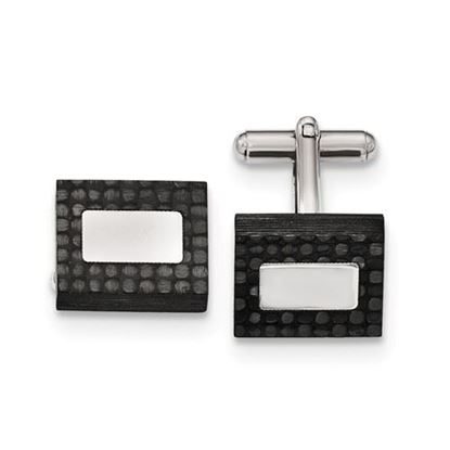 Picture of Stainless Steel Polished Brushed Carbon Fiber Rectangular Cufflinks