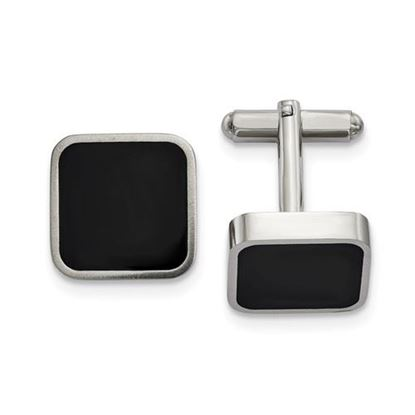 Picture of Stainless Steel Polished Black Enameled Square Cufflinks