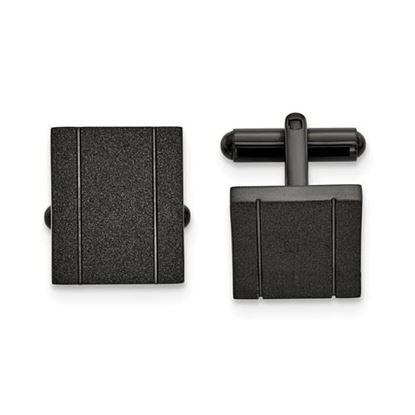 Picture of Stainless Steel Polished Black IP-plated Laser cut Cufflinks