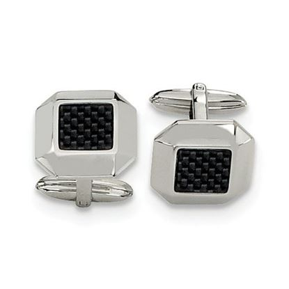 Picture of Stainless Steel Polished Black Carbon Fiber Inlay Octagon Cufflinks