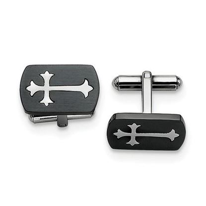 Picture of Stainless Steel Brushed Polished Black IP-plated Cross Inlay Cufflinks