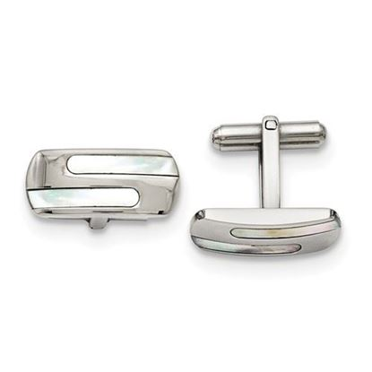 Picture of Stainless Steel Polished Mother of Pearl Oblong Design Cufflinks