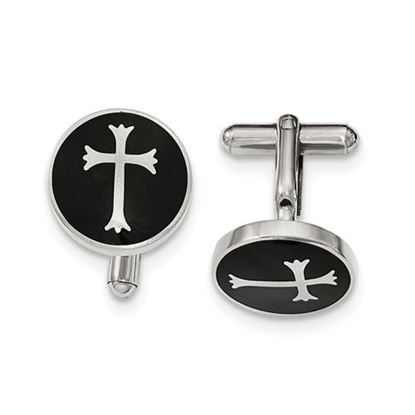 Picture of Stainless Steel Polished Black Enamel Cross Cufflinks