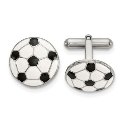 Picture of Stainless Steel Polished Enameled Soccer Ball Cufflinks