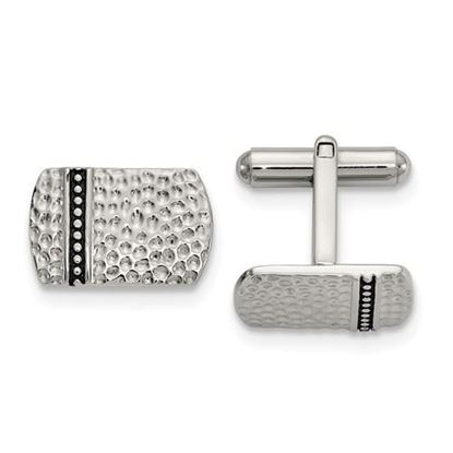 Picture of Stainless Steel Antiqued Polished Hammered Cufflinks