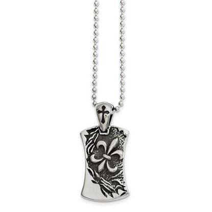Picture of Stainless Steel Antiqued Fleur de lis Dog Tag 22in Necklace