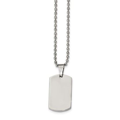 Picture of Stainless Steel Brushed and Polished 1.85mm Reversible Dog Tag 24 Inch Necklace