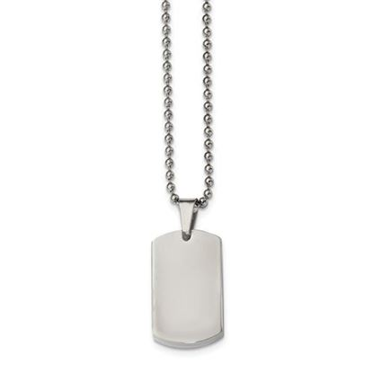 Picture of Stainless Steel Brushed and Polished 3.85mm Reversible Dog Tag Necklace