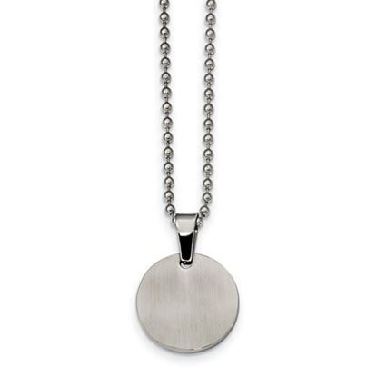 Picture of Stainless Steel Brushed and Polished Round 2.0mm Dog Tag 24 Inch Necklace