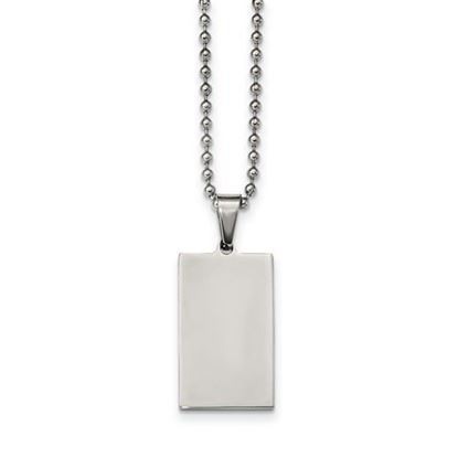 Picture of Stainless Steel Brushed Polished 1.9mm Reversible Rectangle Dog Tag 24 Inch Necklace