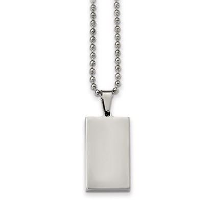 Picture of Stainless Steel Brushed Polished Reversible Rectangle Dog Tag 24 Inch Necklace