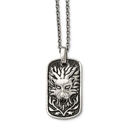 Picture of Stainless Steel Polished and Antiqued Lion Dog Tag 22 Inch Necklace