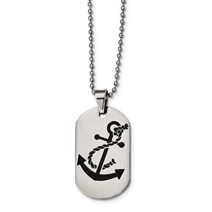 Picture of Stainless Steel Polished Black Enamel Anchor Dog Tag 24 Inch Necklace