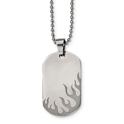 Picture of Stainless Steel Polished Black IP-plated Flames Dog Tag 24 Inch Necklace