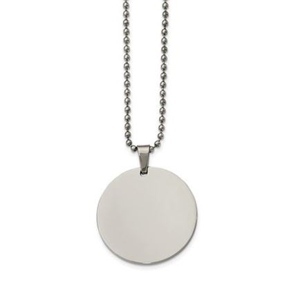 Picture of Stainless Steel Polished Circle 2mm Thick Dog Tag 24 Inch Necklace