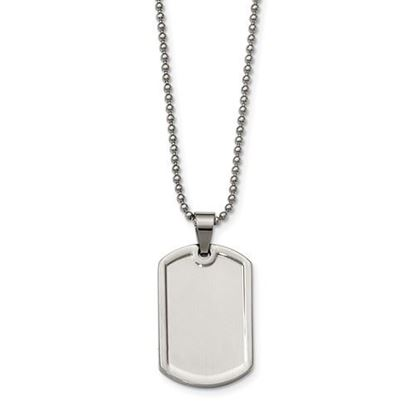 Picture of Stainless Steel Polished Raised Edge Dog Tag 20 Inch Necklace