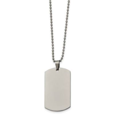 Picture of Stainless Steel Polished Rounded Edge 2mm Thick Dog Tag  24 Inch Necklace