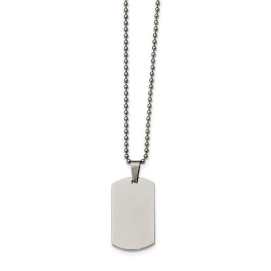 Picture of Stainless Steel Polished Brushed  Edge 2mm Thick Dog Tag 24 Inch Necklace