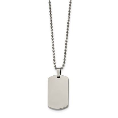 Picture of Stainless Steel Polished Rounded Edge 4mm Thick Dog Tag 24 Inch Beaded Necklace