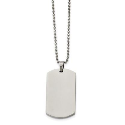 Picture of Stainless Steel Polished Rounded Edge 4mm Thick Dog Tag 24 Inch Necklace