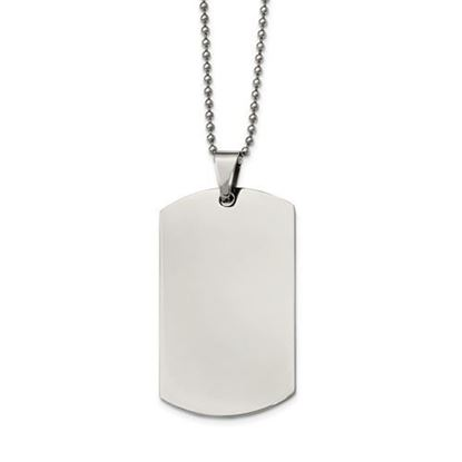 Picture of Stainless Steel Polished Rounded Edge Large 2mm Thick Dog Tag 24 Inch Necklace