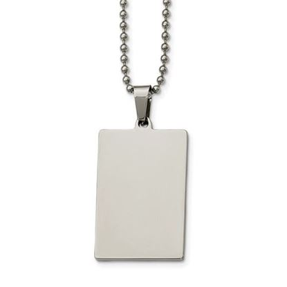 Picture of Stainless Steel Polished Squared 2mm Thick Dog Tag 24 Inch Necklace