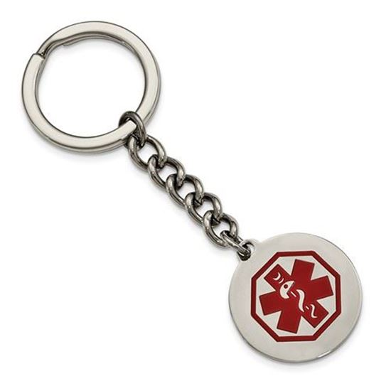 Picture of Stainless Steel Polished Red Paint Inlay Medical Key Chain