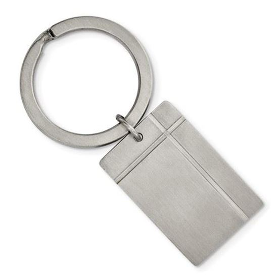 Picture of Stainless Steel Brushed Grooved Key Chain
