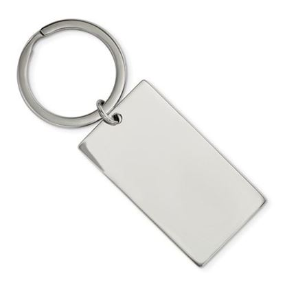 Picture of Stainless Steel Brushed Polished 1.85mm Rectangle Reversible Key Chain