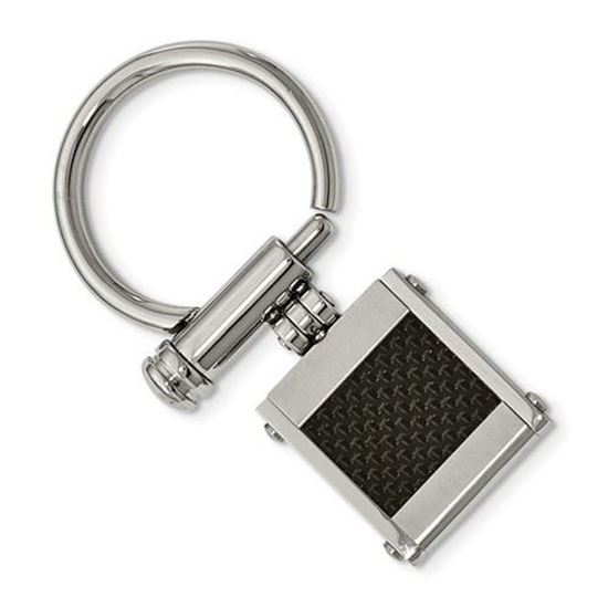 Picture of Stainless Steel Brushed Polished Black Carbon Fiber Inlay Key Ring