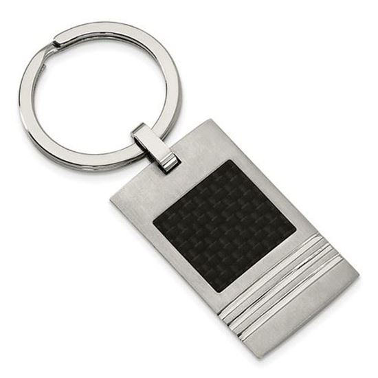 Picture of Stainless Steel Brushed Black Carbon Fiber Inlay Key Ring