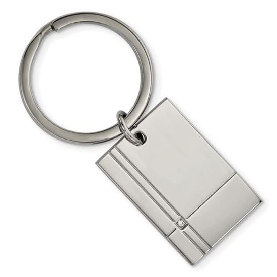 Picture of Stainless Steel Polished Grooved CZ Key Chain