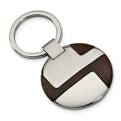 Picture of Stainless Steel Polished Wood Inlay Key Chain