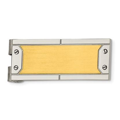 Picture of Stainless Steel Brushed Polished Yellow IP-plated Money Clip