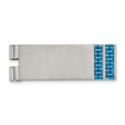 Picture of Stainless Steel Brushed Blue Carbon Fiber Inlay Money Clip