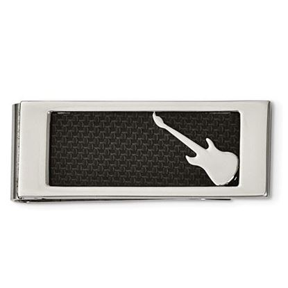 Picture of Stainless Steel Polished Black Carbon Fiber Inlay Guitar Money Clip