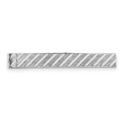 Picture of Sterling Silver Rhodium-plated Textured Diagonal Design 6mmTie Bar