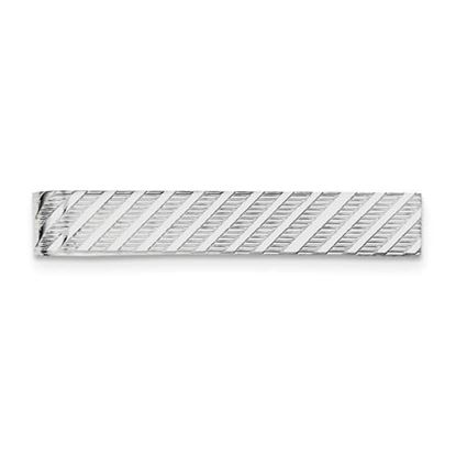 Picture of Sterling Silver Rhodium-plated Textured Diagonal Design Tie Bar