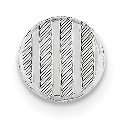 Picture of Sterling Silver Polished Textured Diagonal Designs Round Tie Tac