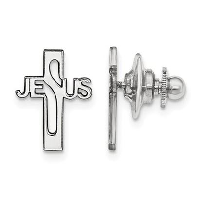 Picture of Sterling Silver Rhodium-plated Jesus Cross Tie Tac