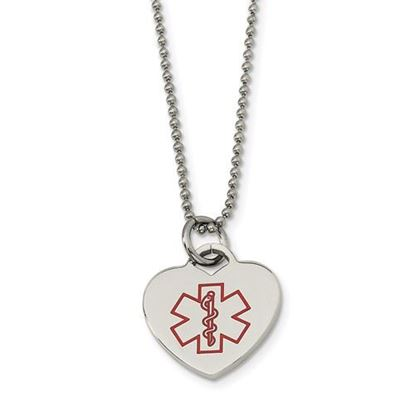 Picture of Stainless Steel Heart Shaped Medical Pendant 22 Inch Necklace