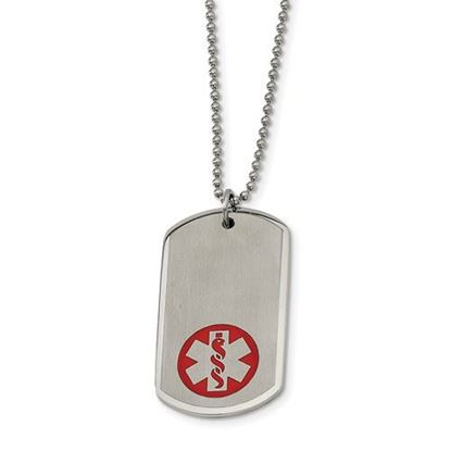 Picture of Stainless Steel Large Dog Tag Medical Pendant 22in Necklace