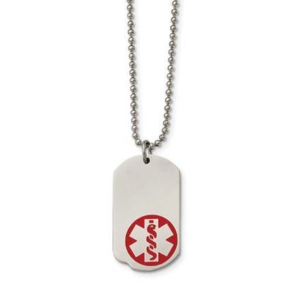 Picture of Stainless Steel Small Medical Dog Tag 23.25 Inch Necklace