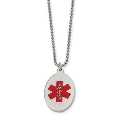Picture of Stainless Steel Red Enamel Oval Medical Pendant 22 Inch Necklace